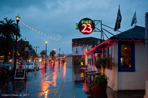 Pier 23 Cafe on a rainy night